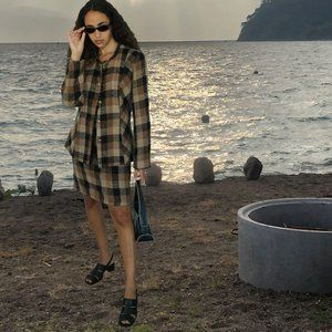 Power Two-Piece Jacket & Skirt Brown Gingham Set